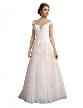 Shop A-Line Illusion Long Cathedral Train Ivory & Champagne Mariana Wedding Dress Cairns