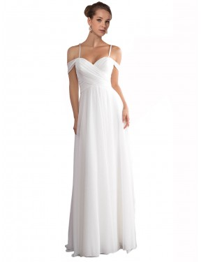Shop A-Line Off the Shoulder Long Sweep Train Ivory Ruth Wedding Dress Cairns